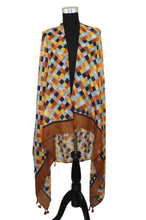 Load image into Gallery viewer, Colorful Checkered Scarf with Tassels