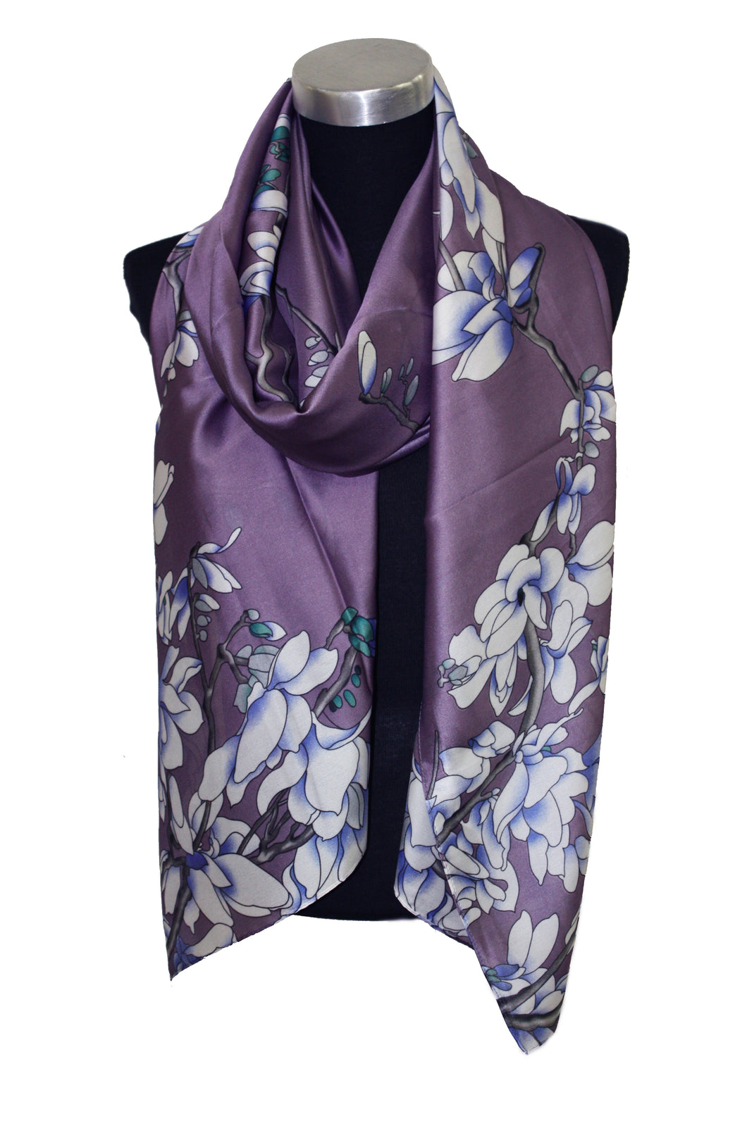 Satin effect printed scarf