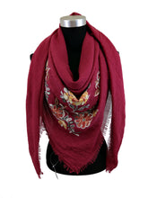Load image into Gallery viewer, Square Scarf with Floral Embroidery