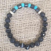Load image into Gallery viewer, Turquoise Agate Lava Bracelet