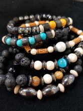 Load image into Gallery viewer, Wood Howlite Stone Bracelet