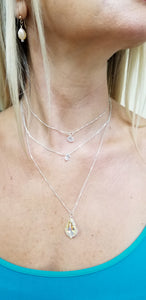 925 Sterling Silver Big Tear Champagne Swarovski Necklace