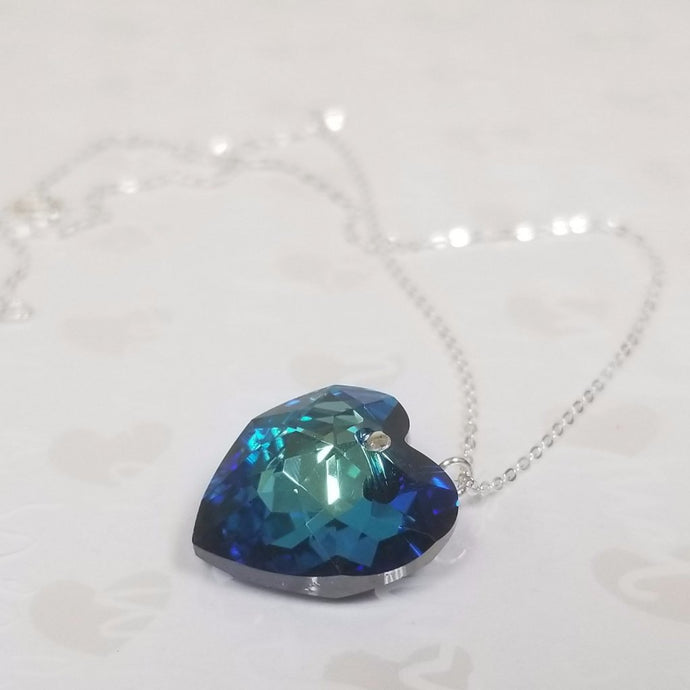 925 Sterling Silver Big Blue Heart Swarovski Necklace