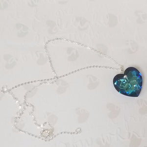 14k Gold Filled Big Blue Heart Swarovski Necklace