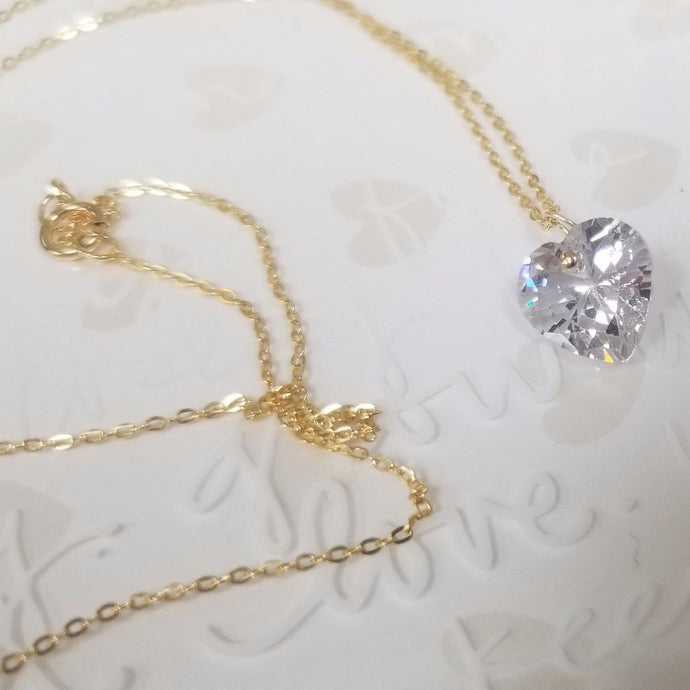 14k Gold filled Heart cubic zirconia Necklace