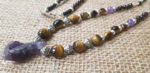 Amethyst Tiger Eye pewter Ruby Onyx Necklace