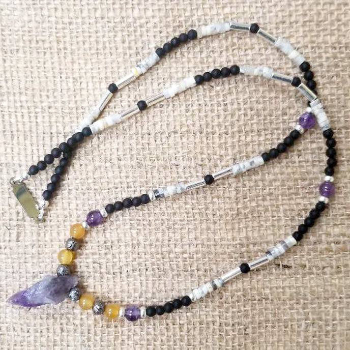 Amethyst Citrine pewter Agate Onyx Necklace
