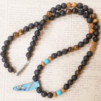 Black Lava Tiger Eye Turquoise Lapis Lazuli Wood Necklace
