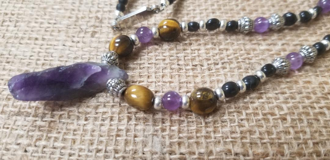 Amethyst Tiger Eye pewter Black calcite Onyx Necklace
