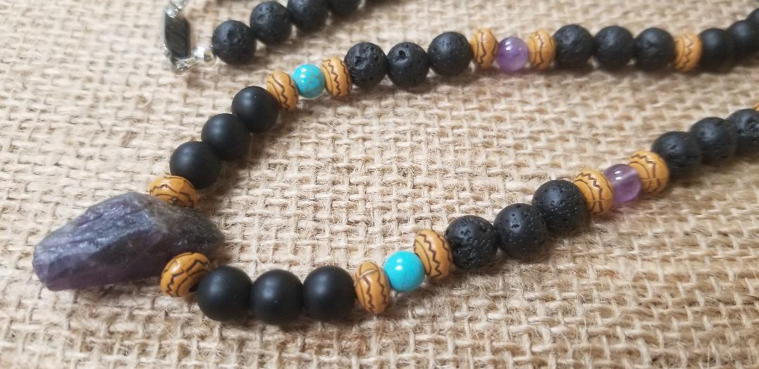 Amethyst Turquoise Lava Onyx Necklace
