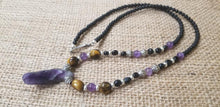 Load image into Gallery viewer, Amethyst Tiger Eye pewter Black calcite Onyx Necklace