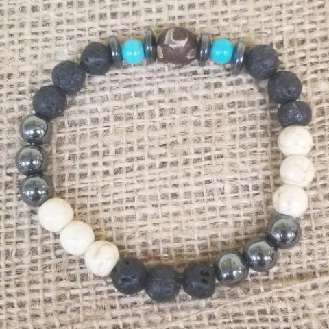 Turquoise Frost Agate Agate Lava Hematite Bracelet