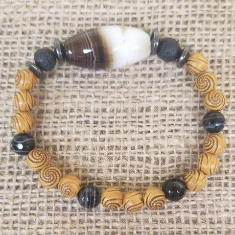 Wood Gemstone Lava Bracelet