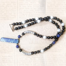 Load image into Gallery viewer, Onyx White Agate Hematite Lapis Lazuli Necklace