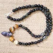 Load image into Gallery viewer, Amethyst Black Lava Hematite Onyx Necklace