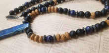 Load image into Gallery viewer, Black Onyx Lapis Lazuli Wood Necklace