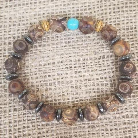 Frost Agate Hematite Turquoise Wood Bracelet