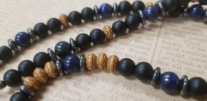 Black Onyx Lapis Lazuli Wood Necklace