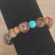 Load image into Gallery viewer, Frost Agate Hematite Turquoise Wood Bracelet