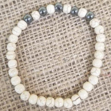 Load image into Gallery viewer, Howlite Stone Hematite Bracelet