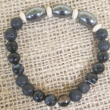 Load image into Gallery viewer, Agate Lava Hematite Bracelet