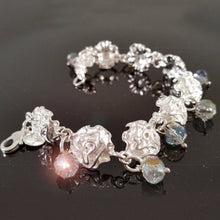 Load image into Gallery viewer, 925 Sterling Silver Roses Light Blue Beads Bracelet