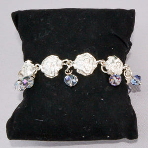 925 Sterling Silver Roses Light Blue Beads Bracelet