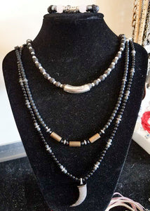 Brass Onyx Beads Necklace/Chocker