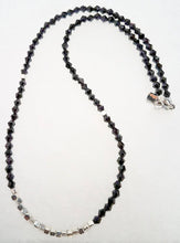 Load image into Gallery viewer, Black Glass Beads Silver Pewter Necklace/Chocker