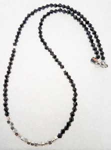 Black Glass Beads Silver Pewter Necklace/Chocker