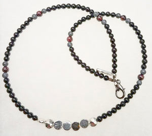 Black Onyx Ruby Silver Pewter Necklace/Chocker
