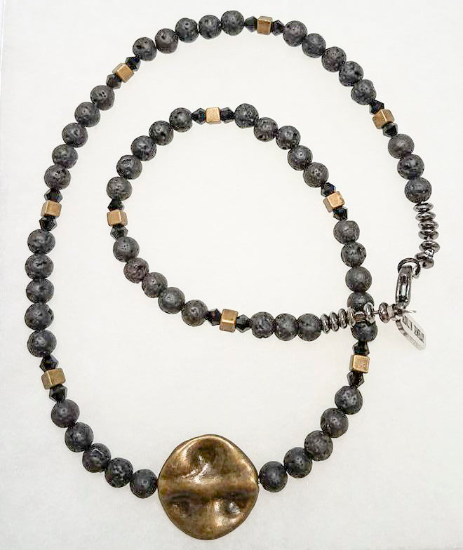 Brass Lava Beads Necklace/Chocker