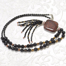 Load image into Gallery viewer, Black Agate, Garnet, Glass Beads Pendant Necklace