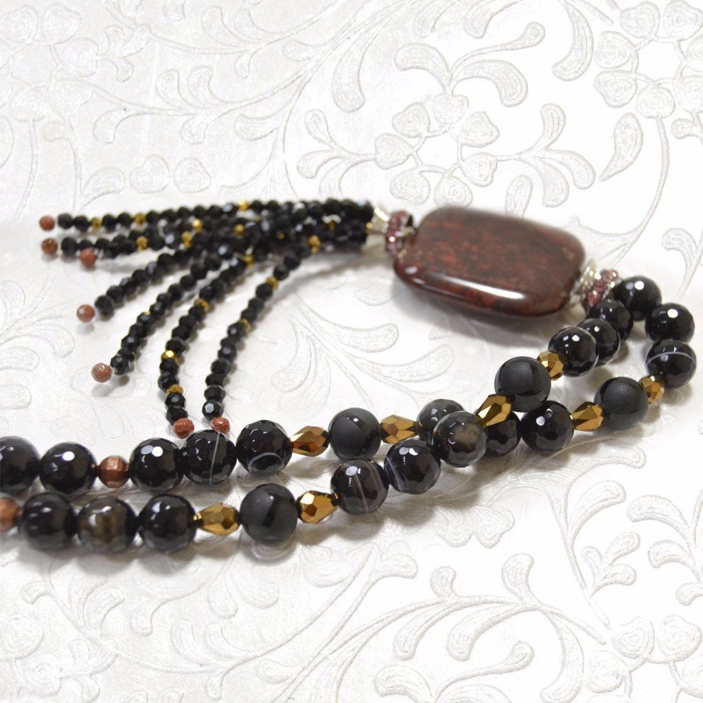 Black Agate, Garnet, Glass Beads Pendant Necklace