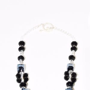Black White Sparkle Stone Necklace