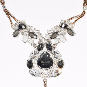 Black & White Sparkle Crystals Pendent Necklace