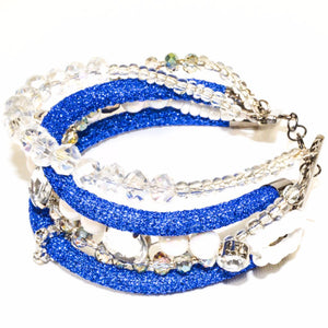 Blue Rope Clear Glass Beads Bracelet