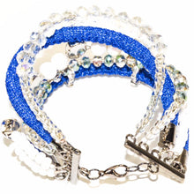 Load image into Gallery viewer, Blue Rope Clear Glass Beads Bracelet