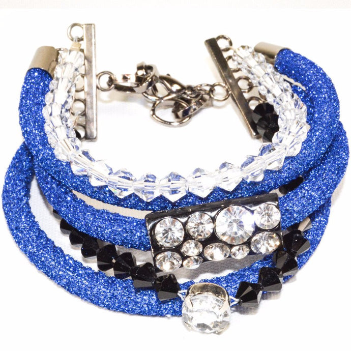 Blue Rope Clear Onyx Glass Beads Bracelet