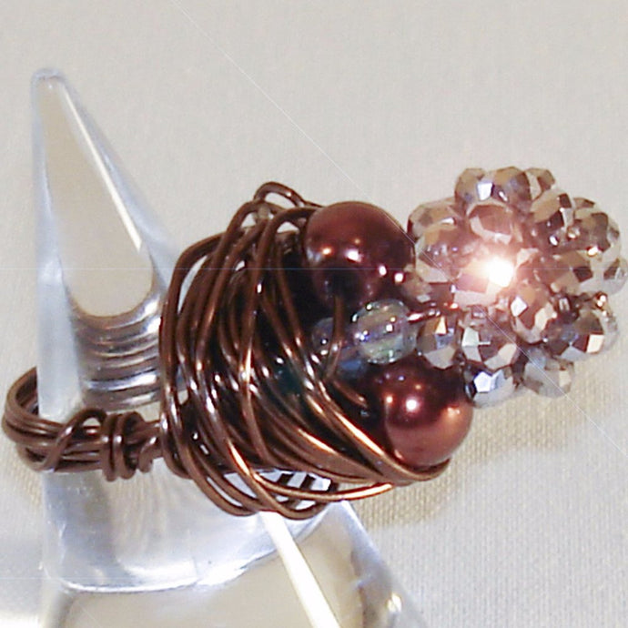 Bronze Color Wire Sparkly Pearl & Bead Ring