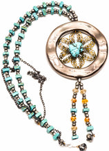 Load image into Gallery viewer, Bronze Ring and TURQUOISE Flower Necklace