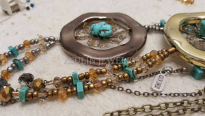 Bronze Ring and TURQUOISE Flower Necklace