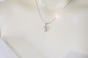 White Tear Fresh Water Pearl 9K White Gold Necklace