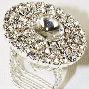Circle Shape Silver Plated decorated with crystal rhinestones Ring Size 5