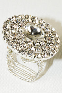 Silver Plated Circle Shape decorated with crystal rhinestones Ring, size 8