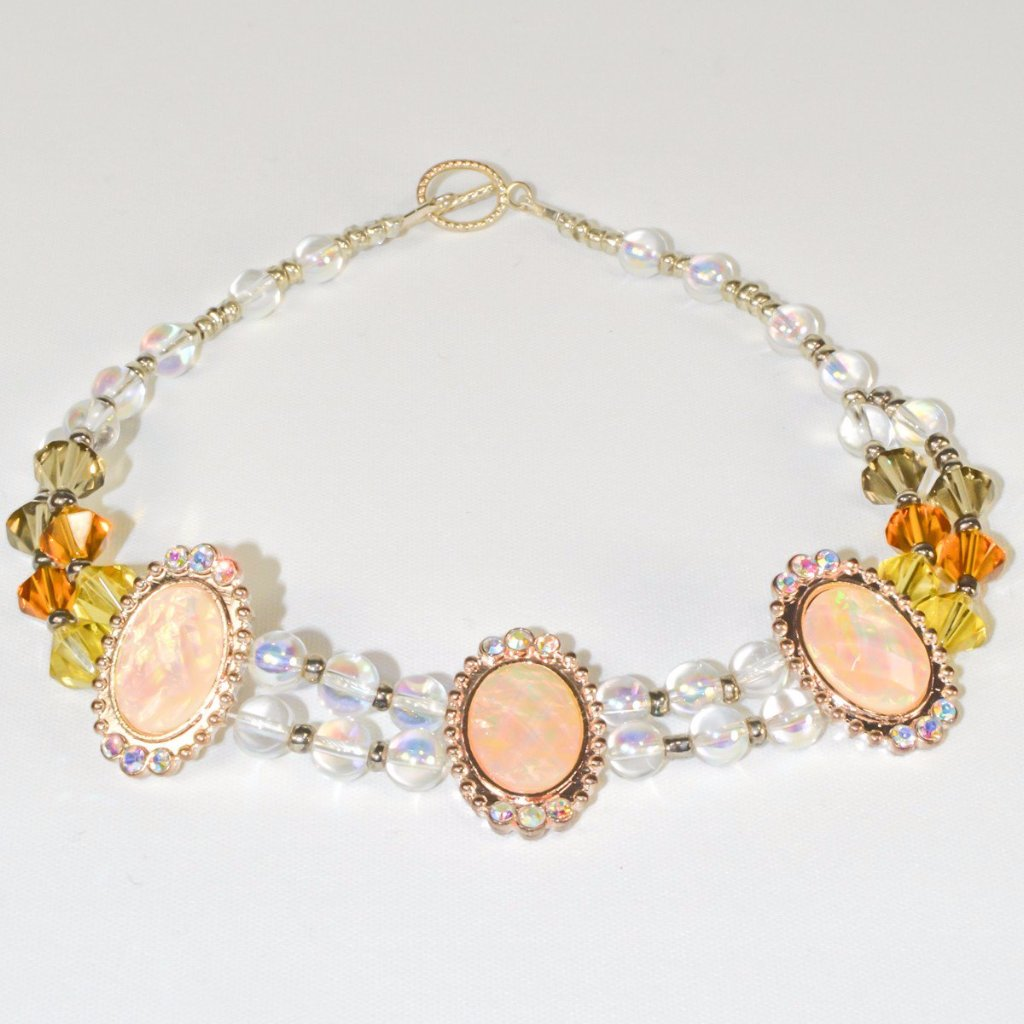 Clear Golden Earth Glass Beads pinkish Bridal Necklace