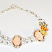 Load image into Gallery viewer, Clear Golden Earth Glass Beads pinkish Bridal Necklace