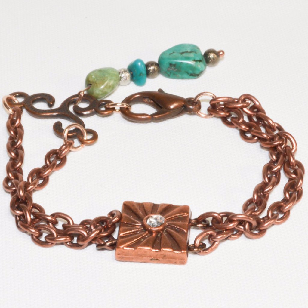 Copper color Turquoise Chain Bracelet