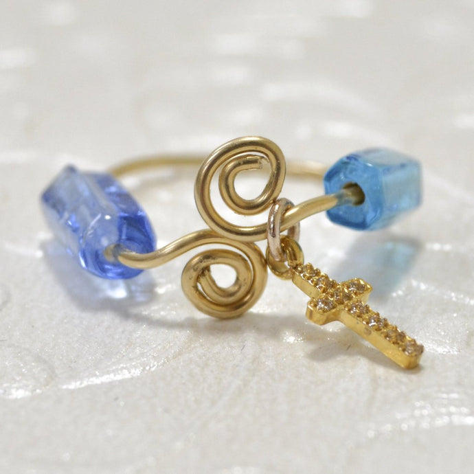 Gold Filled Wire Cross Blue bead Ring