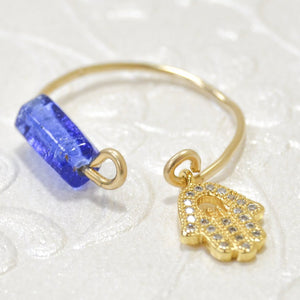 Gold Filled Wire Hamssah Blue bead Ring
